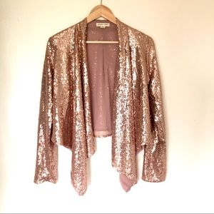 Open front rose gold sequin jacket cardigan M